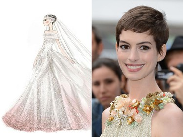 Bride:  Anne Hathaway  Married:    Adam Shulman in California, Sept. 2012.   Dress:  A custom made off-the-shoulder Valentino gown made of  ivory silk point d'esprit tulle with an embroidered train that was hand painted in soft pink.    (WENN.COM, Valentino handout)