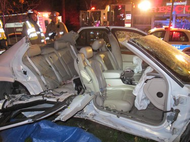 Nov. 4, 2012 - Two vehicles collided at the intersection of Gladstone Ave. and Metcalfe St. early Sunday morning. Fire crews had to cut the top off one of the vehicles. (OTTAWA FIRE SERVICES PHOTO)
