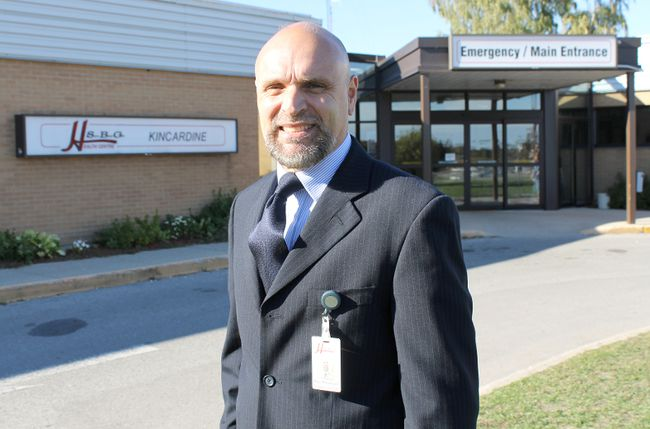 South Bruce Grey Health Centre (SBGHC) president and CEO Paul Rosebush stands outside of the entrance of the Kincardine Hospital site. (TROY PATTERSON/KINCARDINE NEWS)