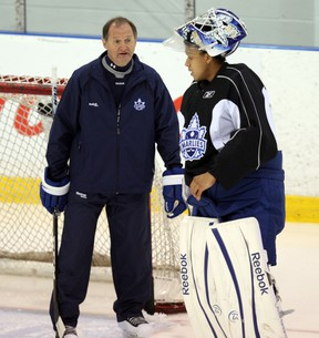 Leafs goalie coach Rick St. Croix (left) was able to see Ben Scrivens, Jussi Rynnas and Mark Owuya (pictured) perform over three consecutive nights — all Marlies wins. (TORONTO SUN/FILES)