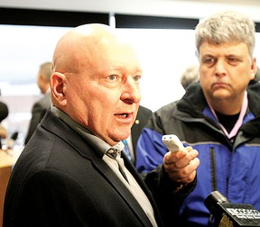 Brampton Battalion owner Scott Abbott speaks during a media conference at North Bay City Hall Thursday, discussing the plan to relocate the OHL team to North Bay for the 2013-14 season (Ken Pagan, The Nugget)