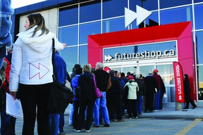 Around 150 people lined up Friday morning to take advantage of the grand opening deals at the new Futureshop.ca outlet on Parkedale Avenue. MEGAN BURKE/The Recorder and Times