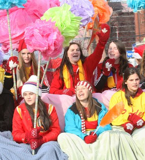 Chippewa Intermediate and Secondary School won the top prize for entries in the 2012 Santa Claus Parade by being selected best overall. Marina Point Retirement Village had the best spirit and was selected tops among service groups/organizations.