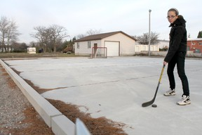 The Harbour - A Community Church has invested $42,000 into an outdoor recreation pad to be used by the Kincardine community for ice skating and hockey in the winter, as well as inline skating, basketball and roller hockey in the summer. Pastor Ray Luinstra's daughter Ariel, 12, was testing out the new, smooth concrete pad before hockey practice on Nov. 15, 2012. (TROY PATTERSON/KINCARDINE NEWS)