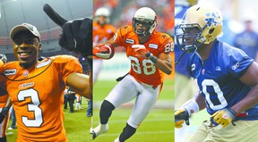CFLers Cauchy Muamba, Akeem Foster and Henoc Muamba alongside former CFLer and current football coach at Holy Trinity High School Kwame Osei will help with the school's Knights and Angels kick off event on Dec. 4. QMI AGENCY FILE PHOTOS