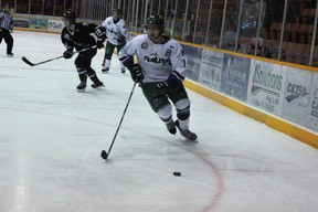 The Melfort Mustangs' Jarrett Zentner breaks into the offensive zone during the during the Mustangs' 5-3 win over the Battlefords North Stars on Wednesday, November 15 at the Northern Lights Palace.