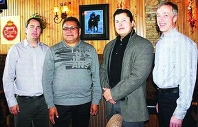 Pictured are: Tery Mix, Mixcor owner, left, Samson Cree Nation Chief Marvin Yellowbird, Samson Cree Nation Coun. Derek Bruno and Mixcor general manager Gary Zeitner.