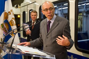 Mayor Stephen Mandel speaks during the unveiling of the new NAIT LRT track at Churchill LRT Station in Edmonton, Alta. on Friday, Nov. 16, 2012.