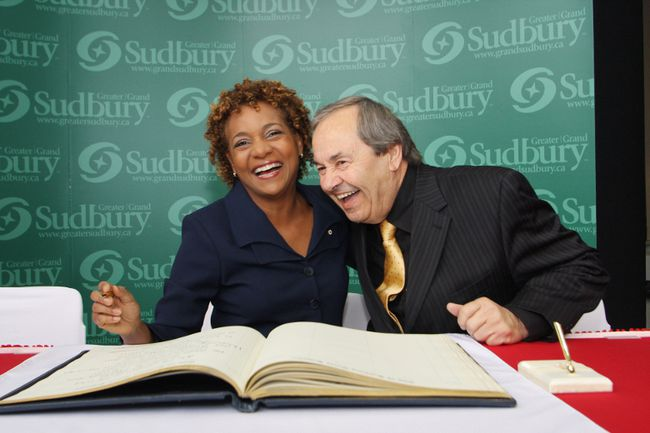 In this file photo, former Governor General Michaelle Jean and former Greater Sudbury Mayor John Rodriguez share a laugh at a ceremony at Tom Davies Square.