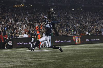Dontrelle Inman celebrates scoring the Argos third touchdown of the first half during the 100th Grey Cup between the Toronto Argonauts and Calgary Stampeders at the Rogers Centre in Toronto on Nov. 25, 2012. (STAN BEHAL, QMI Agency)