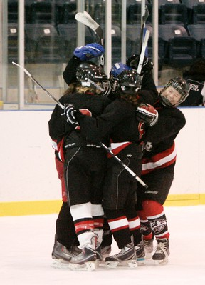 Expositor file photo  Defending champion Paris District High School Panthers, shown celebrating a goal in last season's championship game against the Assumption College Lions, will be challenged this season by the Lions and the North Park Collegiate Trojans.