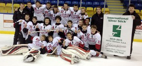 The Duvanco Homes Quinte Minor Bantam Red Devils won the North American Silver Stick championship this past weekend in Whitby. Team members include: Jett Alexander, Anthony Popovich, Jakob Brahaney, Brock Bronson, Domenic Della Civita, Scoley Dow, Keegan Ferguson, Ryan Fraser, Brady Gilmour, Nick Hoey, Mac Lowry, Aidan McFarland, Matthew Panetta, Shelby Rienstra, Ryan Smith, Colin VanDerHurk, Mackenzie Warren, Jake Wilson, head coach Patrick Shearer, assistant coach Terry Gaebel, assistant coach Brent Heusinkveld, trainer Grant Pope, manager Tina Warren, and strength and conditioning coach Matt White.