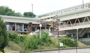This is a photo a couple of days after the partial roof collapse at the Algo Centre Mall on June 23, during the rescue effort.  Photo by KEVIN McSHEFFREY/THE STANDARD/QMI AGENCY