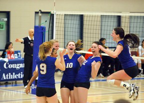 The Bev Facey Falcons senior girls volleyball team reacts with delight after a come-from-behind victory over Calgary's William Aberhart in the 4A provincial semifinals last weekend in Lethbridge. Photo supplied