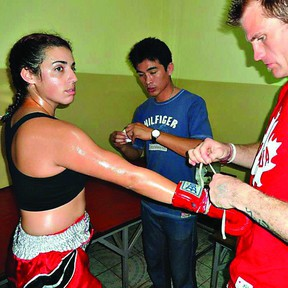 Fort Saskatchewan high school band teacher Simone Villetard, who is also an instructor at the local Arashi Do club, took on a fight in Thailand, where she managed a second-round knockout. Photo Supplied