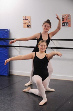 Avery Howard, 13, (back) and Emma Shortt, 11 are two of four local dancers taking part in the Ballet Jorgan production of the Nutcracker at the Sanderson Centre of Performing Arts in Brantford on Dec. 8. The dancers rehearse weekly at Jo-Ann Adams School of Dance in Simcoe. (SARAH DOKTOR Simcoe Reformer)