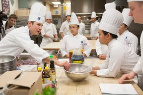NAIT culinary arts instructor Jason St. Laurent oversees students competing  to have their recipe chosen for an item in the Tokyo Express Tetsu Chef product line on Monday. FRANK LANDRY Photo Supplied