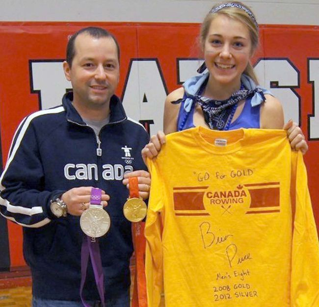 Double Olympic medal winner Brian Price is joined by Maddy Pilon, a junior rower in the new Trenton Rowing and Paddling Club following Price's anti-bullying speech to students at Bayside Secondary School recently.