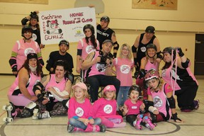 The Rebel With Claws derby team players and coaches . Top row (l-r): Al Carriere, Ray Froud, Earl Landers; middle row (l-r): Laura Labelle, Jeff Latham, Monique Bellaire, Kenny Harrison, Chanelle Charest, Roxanne Ross, Christine Lajoie; Bottom row (l-r) Brandi Pollari, Christine Froud, Tracy Lalonde.