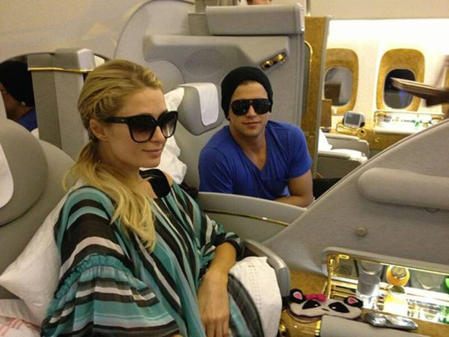 Paris Hilton posted this image of herself and River Viiperi on Twitter with the caption 'Bye Mumbai! After an amazing trip in India, now taking off to Dubai with @RiverViiperi #JetSetters' (Paris Hilton/Twitter)
