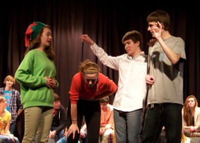 """Students from three local high schools compete in a """"leapfrog"""" style contest as part of the SD&G Improv Championships on Thursday. Two of the final teams hailed from host school St. Lawrence. Cheryl Brink staff photo"""