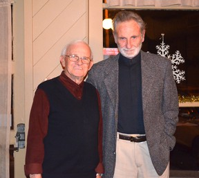 Included in those recipients were Bob Trelford and Mike Sterling of Southampton pictured above right who were both involved in the restoration and protection of marine heritage in Saugeen Shores and Bruce County. The pair were honoured further by fellow members of The Propeller Club at the Nov. 28 meeting at the Walker House in Southampton. Also a recipient of the 2012 Queens Diamond Jubilee Medal was well known Port Elgin resident Eric Eastwood.