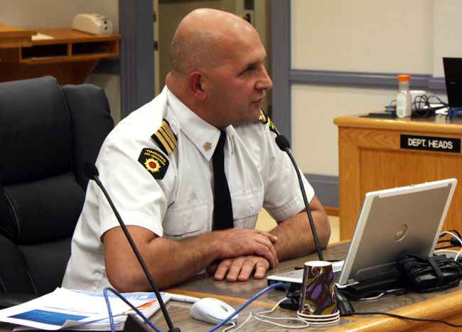 Timmins Fire Chief Mike Pintar addresses city council in this Daily Press file photo.