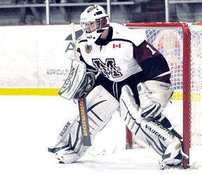 Darien Ekblad of the Chatham Maroons is the GOJHL Western Conference goalie of the month for November. (MARK MALONE/The Daily News)