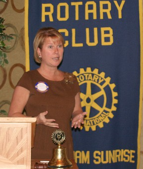 Jennifer Jones, a past district governor, spoke at the Rotary Club of Chatham Sunrise meeting on Dec. 11.
