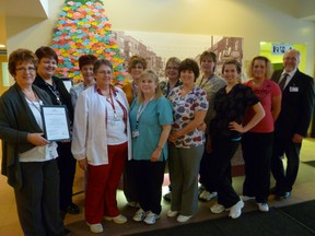 Kirkland and District Hospital's Laboratory has again achieved the highest accreditation available. Celebrating the achievement are, back row from left, Payton Fraser, Rhonda Doonan, Laura Turner , Shelly Duchesne, Mary Martin; and front row Joan Koury (Manager), Nora Barker, Angela StCyr, Colette Tardif, Jessica Lauzon, Daina Turcotte, Glenn Scanlon (CEO)Missing from Photo Shelly Sinclair, Alison Whyte, Tanya Seaton, Shelly Kant