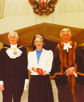 Prescott council is considering a memorial for Jean Wadds Casselman, who died Nov. 25, 2011, at the age of 91. Above, she is pictured receiving the Freedom of the City of London May 21, 1981 from the Lord Mayor, Col. Sir Ronald Gardner-Thorpe, and Chamberlain of London, John P. Griggs, M.C. (SUBMITTED PHOTO)