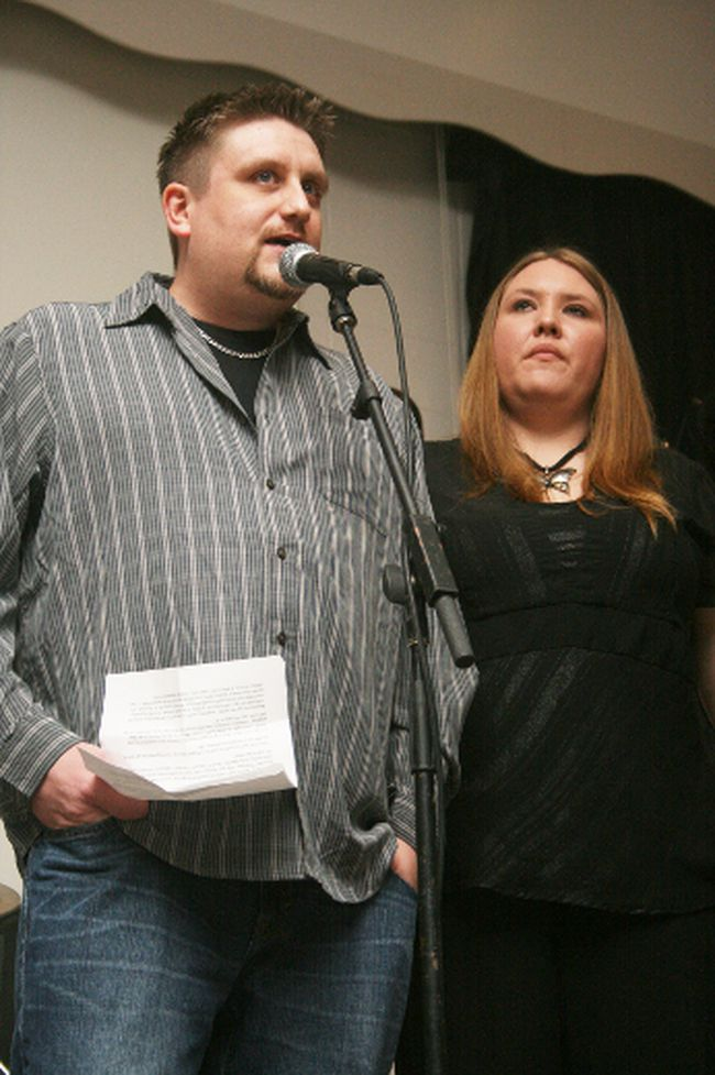 KEVIN RUSHWORTH PHOTO. Claire and Holly McMaster thanked the crowd gathered at the Angels Within Us community benefit for their help in assisting their daughter Kylie.
