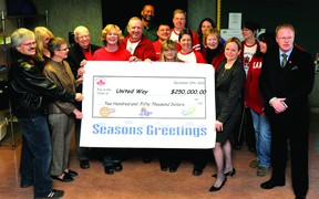 Procter and Gamble Brockville staff help United Way of Leeds and Grenville executive director Judi Baril, second from left, and United Way president an CEO Dr. Jacline Abray-Nyman support a hefty cheque for $250,000 on Thursday. (DARCY CHEEK/The Recorder and Times)