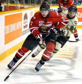 Barrie native Zach Nastasiuk (shown) and Elmvale native Chris Bigras, both of whom play for the Owen Sound Attack after also suiting up for the Barrie Colts minor midget 'AAA' team during their minor hockey days, will face each other in next month's CHL Top Prospects Game in Halifax. QMI AGENCY FILES