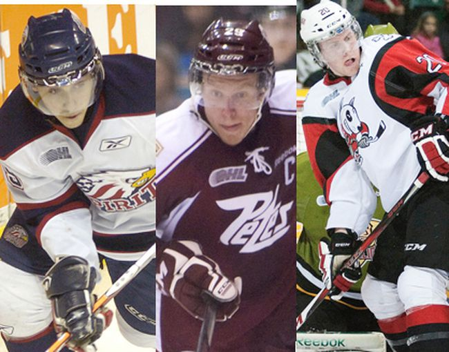 Vincent Trocheck, Spirit (left), Slater Koekkoek, Petes (middle), Brett Ritchie, IceDogs (right).