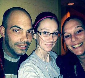 Twenty-two-year-old Kayla Mavretic (centre) suffers from cystic fibrosis, and is in a Toronto hospital where she'll wait for a double lung transplant. She is pictured with stepfather Mike and her mom Jennifer. SUBMITTED PHOTO/THE OBSERVER/QMI AGENCY