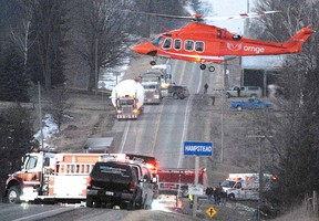 This photo of an air ambulance at the scene of a crash that killed 10 migrant workers and a truck driver, shot by Beacon Herald photographer Scott Wishart, was part of a submission nominated for a National Newspaper Award.