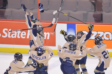 Rochester Monarchs celebrate winning their PeeWee Minor AAA Brooks division Bell Capital Cup Championship game against the Ottawa Valley Silver Sevens at Scotiabank Place in Ottawa on Monday, Dec. 31, 2012. (Matthew Usherwood/ Ottawa Sun)