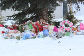 A makeshift memorial has gone up on Shadd Drive in Melfort to honour those lost and injured in the collision on December 22.