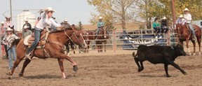 Top rodeo athletes from B.C., Alberta, Saskatchewan and Manitoba will be coming to Nanton this summer for the natioal high school rodeo finals.  Lakota Bird, shown here in a 2012 rodeo, competed in the National High School Rodeo Finals in 2012 in Rock Springs, Wyoming.