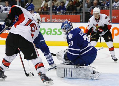 <p><b>Signing: Ben Scrivens, G, one-year entry-level deal</b></p> <p>If Burke doubled-down on goaltending by signing Rynnas, five days later he tripled-down. On April 28, 2010, he signed college free agent Ben Scrivens to a one-year deal. Like Rynnas, Scrivens has so far spent most of his time in the AHL, getting called up for 12 games with the Leafs. (QMI Agency)</p>