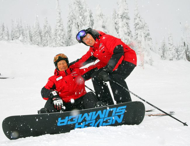 "Senior instructors Don Swift — aka ""ol Swifty"" — and Ollie McEvoy, right, at Big White Ski Resort in Kelowna, B.C. TRACY MCLAUGHLIN/Special to QMI Agency"