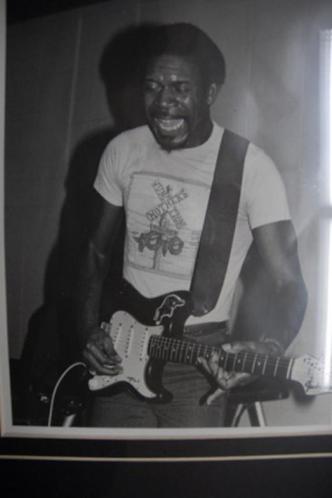 The late Luther Allison playing 1963 Fender Stratocaster electric guitar.