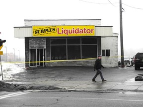Laura Stricker photo. A fire early Saturday morning at Surplus Liquidator on Elm Street caused between $300,000 and $500,000 in damage.