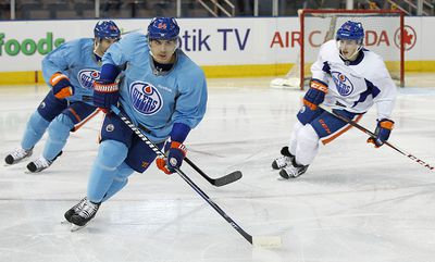 Oilers Nail Yakupov leads players during a drill during their training camp at Rexall Place in Edmonton, Alberta on Monday January 14, 2013 PERRY NELSON - EDMONTON SUN / QMI AGENCY
