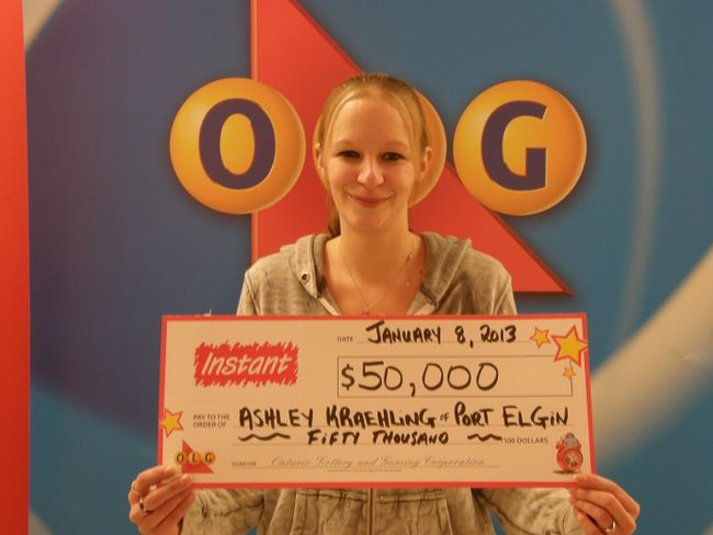 Port Elgin's Ashley Kraehling won $50,000 in Bonus Banco lottery earlier this month.