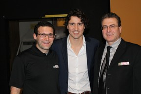 Kevin Roche (left) and Patrick Keaney (right) are big supporters of Liberal leadership candidate Justin Trudeau, who visited Sudbury last month. (Supplied photo)
