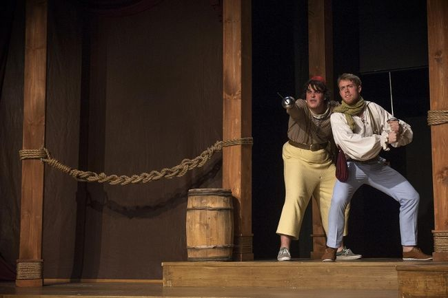 Raymond Moreau plays Dromio of Syracuse, and Ian Coppin is Antipholus of Syracuse in a scene from the Fanshawe College theatre arts program's production of William Shakespeare's Comedy of Errors. (Agata Lesnik, Fanshawe College staff photographer)