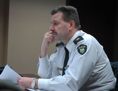 Elgin OPP detachment commander Brad Fishleigh discusses Ontario auditor general Jim McCarter's findings on the OPP and how Elgin compares to the province on the whole during Wednesday's Elgin Group Police Services Board meeting. (Nick Lypaczewski, Times-Journal)