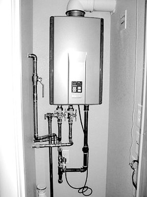 The tankless water heater is designed to be a space-saving product for use in a smaller new home.  The touch-screen thermostat, above, reverts to a screen saver when not in use to blend in with your home's decor. Some models can even be used as digital picture frames.